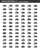 Επίπεδο περίγραμμα σύννεφων πακέτων εικονιδίων διανυσματική απεικόνιση