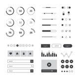 Επίπεδο πρότυπο εξαρτήσεων UI για τον ιστοχώρο, κινητός και επιχείρηση με τα εικονίδια Στοκ Εικόνα