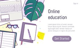 Επίπεδο σχέδιο baner για τη σε απευθείας σύνδεση εκπαίδευση Στοκ Φωτογραφίες