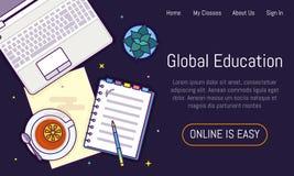 Επίπεδο σχέδιο baner για τη σε απευθείας σύνδεση εκπαίδευση Στοκ Εικόνα