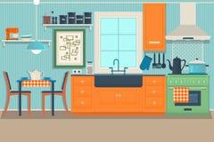 Επίπεδο σύγχρονο εσωτερικό σχέδιο κουζινών με την άποψη πόλεων έξω από την απεικόνιση διάνυσμα διανυσματική απεικόνιση