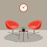 Επίπεδο σύγχρονο καθιστικό με τις πορτοκαλιές πολυθρόνες, εσωτερικό σχέδιο Στοκ φωτογραφίες με δικαίωμα ελεύθερης χρήσης