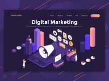 Επίπεδο σύγχρονο σχέδιο του προτύπου ιστοχώρου - ψηφιακό μάρκετινγκ απεικόνιση αποθεμάτων