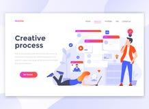 Επίπεδο σύγχρονο σχέδιο του προτύπου wesite - δημιουργική διαδικασία απεικόνιση αποθεμάτων