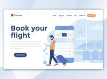 Επίπεδο σύγχρονο σχέδιο του προτύπου wesite - κρατήστε την πτήση σας απεικόνιση αποθεμάτων