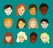 Επίπεδο σύνολο δώδεκα διαφορετικών γυναικών σχέδιο απλό ελεύθερη απεικόνιση δικαιώματος