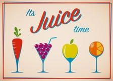 Επίπεδο σύνολο εικονιδίων φρούτων στα γυαλιά κρασιού απεικόνιση αποθεμάτων