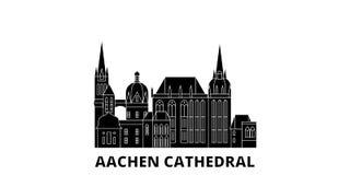 Επίπεδο σύνολο οριζόντων ταξιδιού καθεδρικών ναών της Γερμανίας, Άαχεν Της Γερμανίας, Άαχεν διανυσματική απεικόνιση πόλεων καθεδρ διανυσματική απεικόνιση