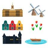 Επίπεδο ταξίδι σχεδίου εικονιδίων Netherland Στοκ Εικόνα