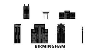 Επίπεδο ταξιδιού σύνολο οριζόντων Ηνωμένου, Μπέρμιγχαμ Διανυσματική απεικόνιση Ηνωμένων, Μπέρμιγχαμ μαύρη πόλεων, σύμβολο απεικόνιση αποθεμάτων