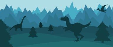 Επίπεδο τοπίο βουνών με τις σκιαγραφίες των δεινοσαύρων διανυσματική απεικόνιση