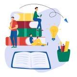Επίπεδο υπόβαθρο εκπαίδευσης με τα μεγάλα βιβλία, τους ανθρώπους, το ανοικτές σημειωματάριο και τις προμήθειες Που διαβάζονται οι στοκ εικόνα με δικαίωμα ελεύθερης χρήσης