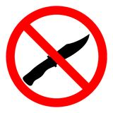 Επίπεδο ύφος σχεδίου Κανένα μαχαίρι ή κανένα σημάδι όπλων Κανένα όπλο σύμβολο Σταυρός μαχαιριών έξω Στοκ φωτογραφία με δικαίωμα ελεύθερης χρήσης