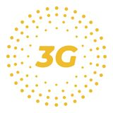 Επίπεδο 3g διανυσματικό λογότυπο με τα αφηρημένα γεωμετρικά σημεία Ελεύθερη απεικόνιση δικαιώματος