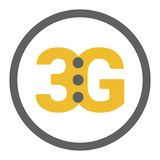 Επίπεδο 3g διανυσματικό λογότυπο με τα σημεία δύναμης σημάτων Απεικόνιση αποθεμάτων