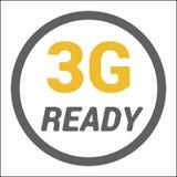 Επίπεδο 3g λογότυπο με την ΕΤΟΙΜΗ λέξη στο πλαίσιο κύκλων Διανυσματική απεικόνιση