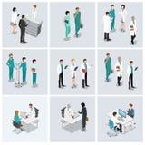 Επίπεδο isometric διανυσματικό σύνολο υγειονομικής περίθαλψης Νοσοκόμα γιατρών διανυσματική απεικόνιση