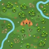 Επίπεδο Southeast-Asian σχέδιο διάφορο Α χαρτών ζουγκλών απεικόνιση αποθεμάτων