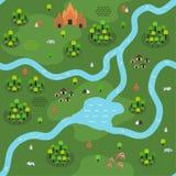 Επίπεδο Southeast-Asian σχέδιο χαρτών ζουγκλών απεικόνιση αποθεμάτων