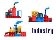 Επίπεδα βιομηχανικά κτήρια εργοστασίων Στοκ Φωτογραφίες