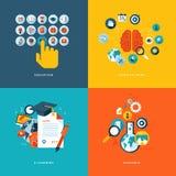 Επίπεδα εικονίδια έννοιας σχεδίου για τη σε απευθείας σύνδεση εκπαίδευση Στοκ Εικόνα