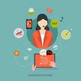 Επίπεδα εικονίδια έννοιας υπηρεσιών προσοχής πελατών επιχείρησης απεικόνιση αποθεμάτων