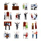 Επίπεδα εικονίδια ανθρώπων δημοπρασίας καθορισμένα διανυσματική απεικόνιση