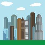 Επίπεδα εικονίδια απεικόνισης σχεδίου σύγχρονα διανυσματικά της αστικής ζωής τοπίων και πόλεων εικονίδιο οικοδόμησης Στοκ Εικόνα