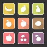 Επίπεδα εικονίδια αριθ. φρούτων 1 Στοκ εικόνες με δικαίωμα ελεύθερης χρήσης
