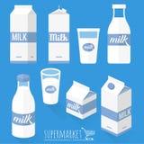 Επίπεδα εικονίδια γάλακτος σχεδίου Στοκ Φωτογραφίες