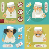 Επίπεδα εικονίδια γιατρών ιατρικής διανυσματική απεικόνιση