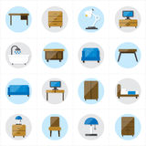 Επίπεδα εικονίδια για τη διανυσματική απεικόνιση εικονιδίων επίπλων Στοκ Εικόνες