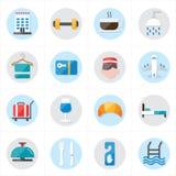 Επίπεδα εικονίδια για τη διανυσματική απεικόνιση εικονιδίων ξενοδοχείων και εικονιδίων ταξιδιού Στοκ Εικόνες