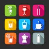 Επίπεδα εικονίδια για τον Ιστό και κινητές εφαρμογές με τα ποτά Στοκ εικόνα με δικαίωμα ελεύθερης χρήσης