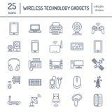 Επίπεδα εικονίδια γραμμών ασύρματων συσκευών Σημάδια τεχνολογίας σύνδεσης στο Διαδίκτυο Wifi Δρομολογητής, υπολογιστής, smartphon απεικόνιση αποθεμάτων