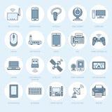 Επίπεδα εικονίδια γραμμών ασύρματων συσκευών Σημάδια τεχνολογίας σύνδεσης στο Διαδίκτυο Wifi Δρομολογητής, υπολογιστής, smartphon ελεύθερη απεικόνιση δικαιώματος