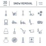 Επίπεδα εικονίδια γραμμών αφαίρεσης χιονιού Σημάδια υπηρεσιών επανεντοπισμού πάγου Εξοπλισμός κρύου καιρού - thrower χιονιού, ανε ελεύθερη απεικόνιση δικαιώματος