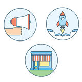 Επίπεδα εικονίδια γραμμών του ψηφιακού μάρκετινγκ Στοκ φωτογραφία με δικαίωμα ελεύθερης χρήσης