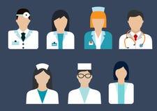 Επίπεδα εικονίδια ειδώλων γιατρών και νοσοκόμων Στοκ εικόνα με δικαίωμα ελεύθερης χρήσης