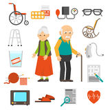 Επίπεδα εικονίδια εξαρτημάτων ανθρώπων γήρανσης καθορισμένα διανυσματική απεικόνιση