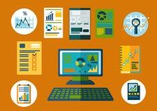 Επίπεδα εικονίδια επιχειρήσεων και οικονομικού σχεδιασμού ελεύθερη απεικόνιση δικαιώματος