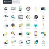Επίπεδα εικονίδια επιχειρήσεων και τραπεζικών εργασιών σχεδίου για τους γραφικούς και σχεδιαστές Ιστού Στοκ Εικόνα