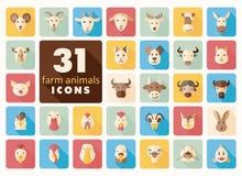 Επίπεδα εικονίδια ζώων αγροκτημάτων καθορισμένα Διανυσματικό κεφάλι Στοκ φωτογραφίες με δικαίωμα ελεύθερης χρήσης