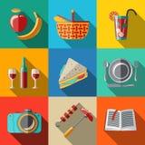 Επίπεδα εικονίδια καθορισμένα, πικ-νίκ - καλάθι, πιάτο, κουτάλι απεικόνιση αποθεμάτων