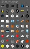 54 επίπεδα εικονίδια και εικονογράμματα καθορισμένα Στοκ εικόνες με δικαίωμα ελεύθερης χρήσης