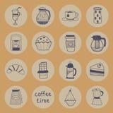 Επίπεδα εικονίδια καφέ καθορισμένα Στοκ Φωτογραφίες