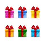 Επίπεδα εικονίδια κιβωτίων δώρων καθορισμένα Στοκ Εικόνες