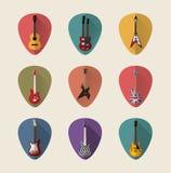 Επίπεδα εικονίδια κιθάρων καθορισμένα Στοκ Εικόνα