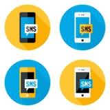 Επίπεδα εικονίδια κύκλων SMS κινητά καθορισμένα στοκ εικόνες