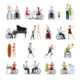 Επίπεδα εικονίδια με ειδικές ανάγκες ατόμων καθορισμένα διανυσματική απεικόνιση